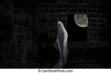 Ghost covered with a white blur appears in an old room