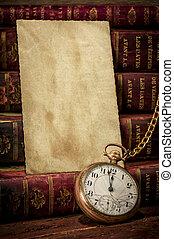 low-key, livros, papel, bolso, foto, textura, antigas, relógio