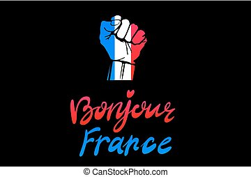 Low key picture of a fist painted in colors of france flag