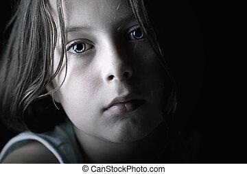 Low Key Shot of Sad Child