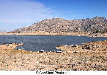 Drought in California - low level of Lake Isabella in Kern County. United States landscape.