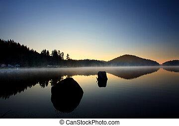 low light lake landscape