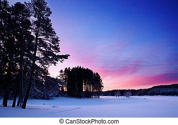 Low light winter sunrise background