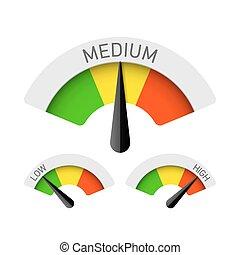 Low, Medium and High gauges - Vector gauges illustration