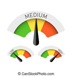 Low, Medium and High gauges - Vector gauges illustration