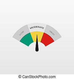 Low, Moderate, High, better, chart, best comparison, good gauges icon. Flat speedometer, tachometer sign bar