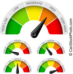 Low, moderate, high - rating meter illustration