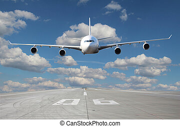 Low pass of white plane - White plane makes a low pass over ...