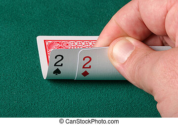 A pair of 2 hole cards in texas holdem poker