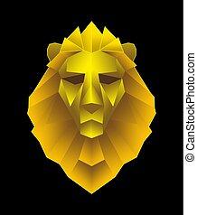 Low poligon lion head illustration
