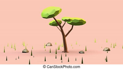 Low poly 3d animation of a tree in sunset or dawn light. 4k resolution. Green tree in low poly style and nice pink background.