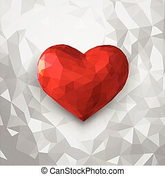 Low poly 3D heart symbol on white background