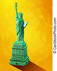 Low poly 3D liberty statue illustration on yellow background