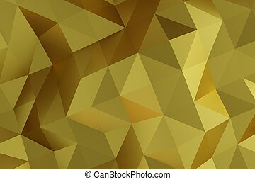 Low poly abstract golden background, 3D rendering