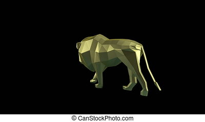 Low Poly Animal - King of annimals. Low poly lion rotating...