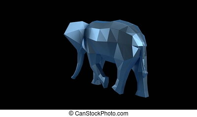 Low Poly Animal - Low poly elephant rotating on the black...