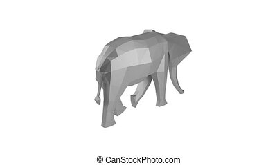 Low Poly Animal - Low poly elephant rotating on the white...
