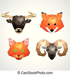 Low poly animals bull fox cat ram vector set