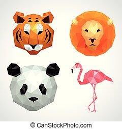 Low poly animals tiger lion panda flamingo vector set