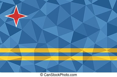 Low poly Aruba flag vector illustration. Triangular Aruban flag graphic. Aruba country flag is a symbol of independence.