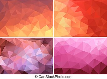 low poly background set, vector - abstract red, orange and...
