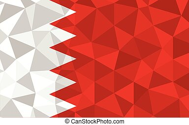 Low poly Bahrain flag vector illustration. Triangular Bahraini flag graphic. Bahrain country flag is a symbol of independence.