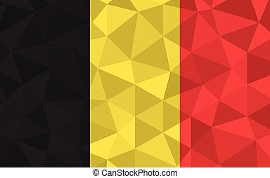 Low poly Belgium flag vector illustration. Triangular Belgian flag graphic. Belgium country flag is a symbol of independence.