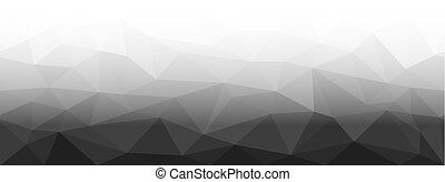 Low Poly black and white horizontal seamless background, ...