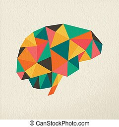 Low poly brain abstract concept illustration - Human brain, ...