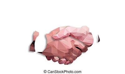 Low poly businessman handshake, Business partnership, together, volunteering and helping concept. Motion graphic footage