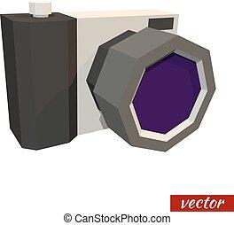 Low poly camera. Vector