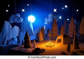 Low Poly Camping Adventure - Low Poly 3D handemade feel...