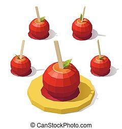 Low poly caramel apple