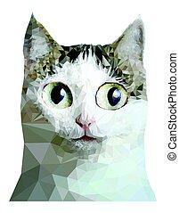 low poly cat close up portrait