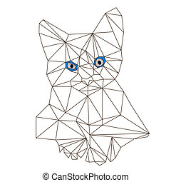 low poly cat vector