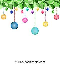 Low Poly Christmas balls and light bulbs