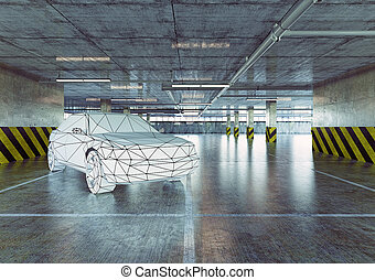 low-poly, coche