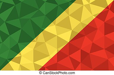Low poly Congo flag vector illustration. Triangular ...