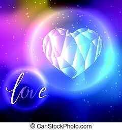 Low poly crystal heart and love - Low poly crystal bright...