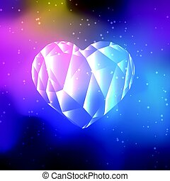 Low poly crystal heart on cosmos galaxy background.