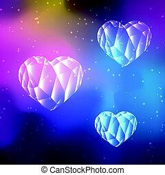 Low poly crystal hearts - Low poly crystal heart on cosmos...