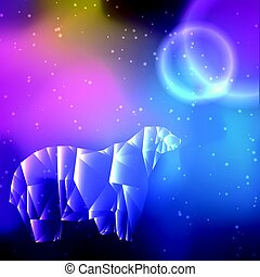 Low poly crystal polar bear. Space background with stars and...