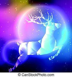 Low poly crystal polar deer. Space background with stars and...