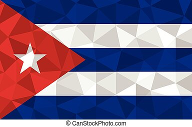 Low poly Cuba flag vector illustration. Triangular Cuban flag graphic. Cuba country flag is a symbol of independence.