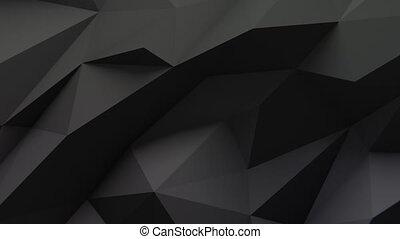 Low Poly Dark Background - Low polygonal dark waving...