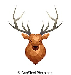 Low poly deer isolated on white vector