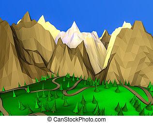 low poly desert landscape. 3D rendering