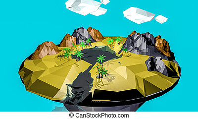 low poly desert landscape. an oasis. 3D rendering