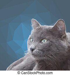Low poly design triangular gray cat polygon