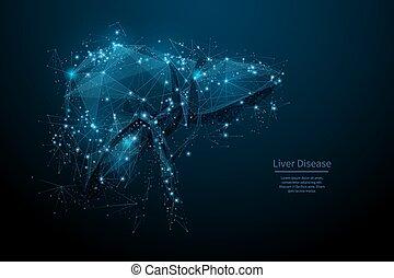 Low poly disease liver blue